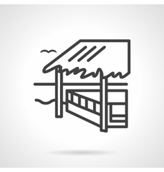 Bungalow black line design icon vector image vector image