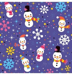 Christmas snowman pattern vector image vector image