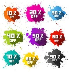Colorful discount sale blots - splashes set vector