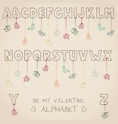 be my valentine alphabet vector image