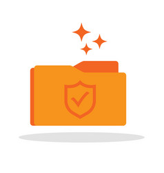 document folder icon with shield guard symbol vector image