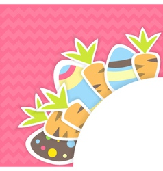 Easter carrots and eggs pattern on a pink vector image