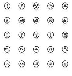 Warning sign icons with reflect on white vector image vector image