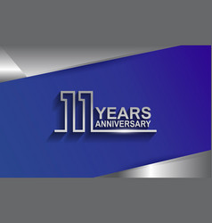11 years anniversary silver color line style vector