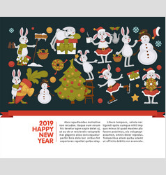 2019 new year celebration bunny with snowman vector image