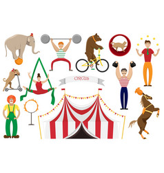 a set of flat of circus artis vector image