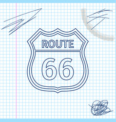 American road line sketch icon isolated on white vector