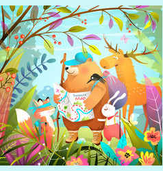 Animals forest hiking adventure with treasure map vector