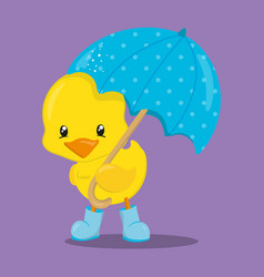 April showers chicken with umbrella 13 vector