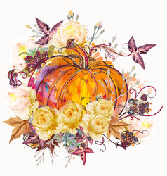 autumn pumpkin with flowers vector image