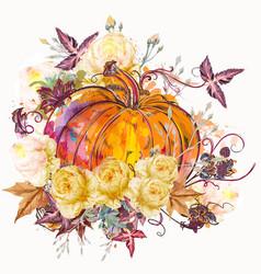 Autumn pumpkin with flowers vector