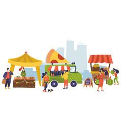 banner on farm market theme organic food street vector image