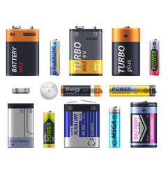 Battery types set aa and aa sizes and models vector