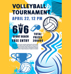 beach volleyball sport tournament ball and trophy vector image