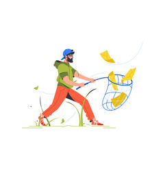 bearded man cathing mail with notification setting vector image