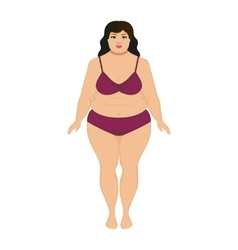 beautiful cartoon fat woman vector image