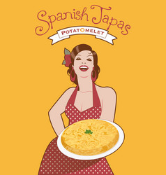 beautiful spanish cook with potato omelette she vector image