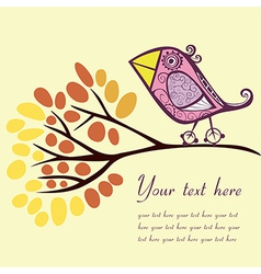 Bird on an autumn branch with place for your text vector image