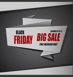 black friday sale background white ribbon banner vector image