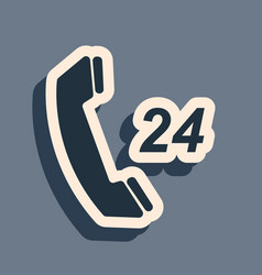 Black telephone 24 hours support icon isolated on vector