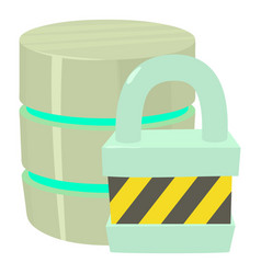 Blocked database icon cartoon style vector
