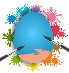 Blue egg and brush on colorful paint splash vector image vector image