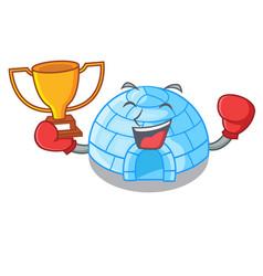 Boxing winner cartoon ice house igloo on snowing vector