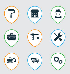 Building icons set with truck lifting hook paint vector