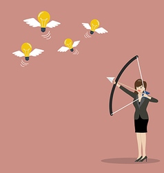 Business woman with a bow and arrow hitting the vector