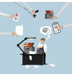 Businessman lot of work vector