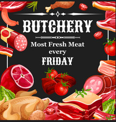butcher shop farm meat products vector image