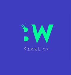 Bw letter logo design with negative space concept vector