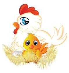 Cartoon Hen and Chicken vector image