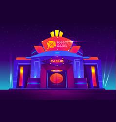 Casino night exterior with neon lights vector