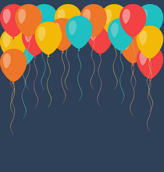 celebration flying balloons background vector image