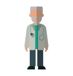 character doctor beard stethoscope health vector image
