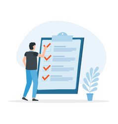 check list with tick mark man with questionnaire vector image