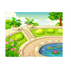 Cool park with water pool landscape cartoon vector