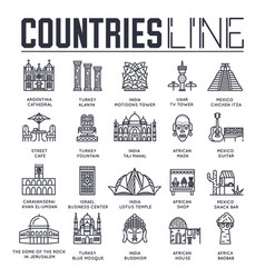 Country travel collextion set set of architecture vector