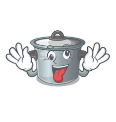 Crazy cookware stock pot isolated on mascot vector