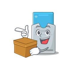 Cute key card cartoon character having a box vector