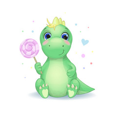 cute little dinosaur with candy vector image