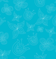 Cute seamless pattern with doodle flowers vector image