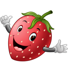 Cute strawberry with face vector