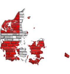 Denmark map on a brick wall vector image