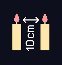 Distance between burning candles rgb color manual vector