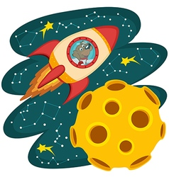 dog cosmonaut flying on rocket to moon vector image