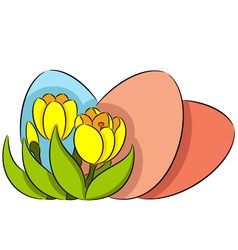 Easter eggs and crocus vector