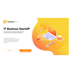 financial business isometrics banner orange vector image