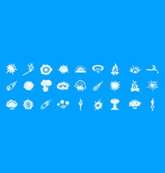 fire icon blue set vector image